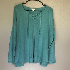 J Jill XL Blue Lace-Up Neckline Sweater